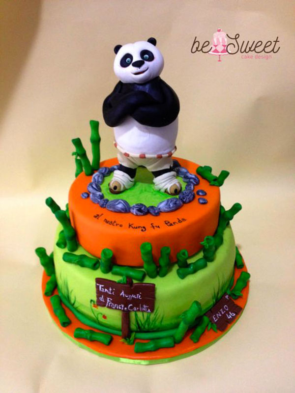 Torta di Kung Fu Panda con decorazioni in pasta di zucchero n.28