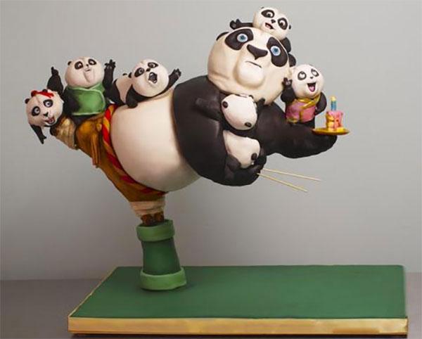 Torta di Kung Fu Panda con decorazioni in pasta di zucchero n.29