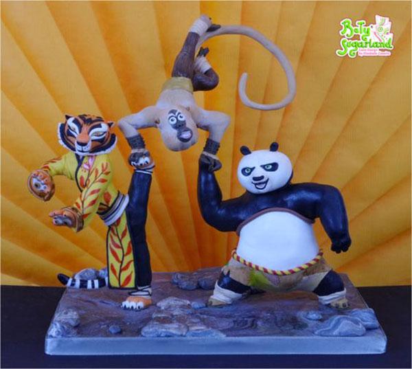 Torta di Kung Fu Panda con decorazioni in pasta di zucchero n.30