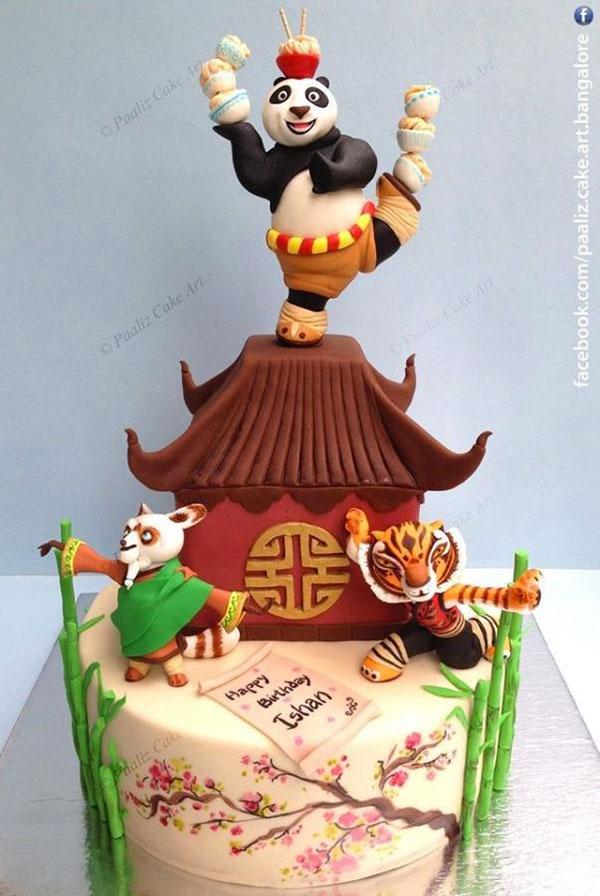 Torta di Kung Fu Panda con decorazioni in pasta di zucchero n.37