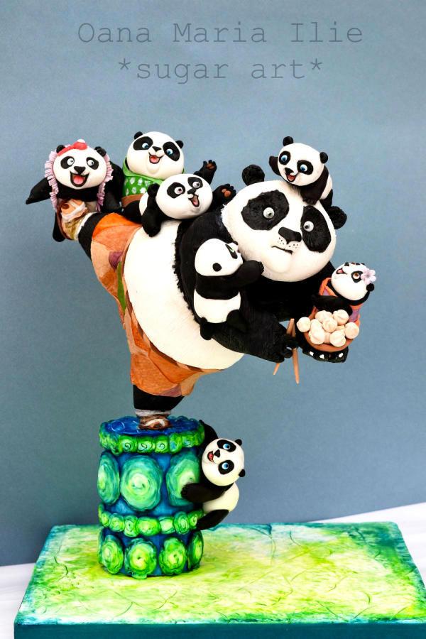 Torta di Kung Fu Panda con decorazioni in pasta di zucchero n.41