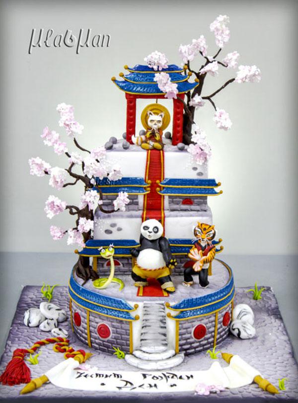 Torta di Kung Fu Panda con decorazioni in pasta di zucchero n.42