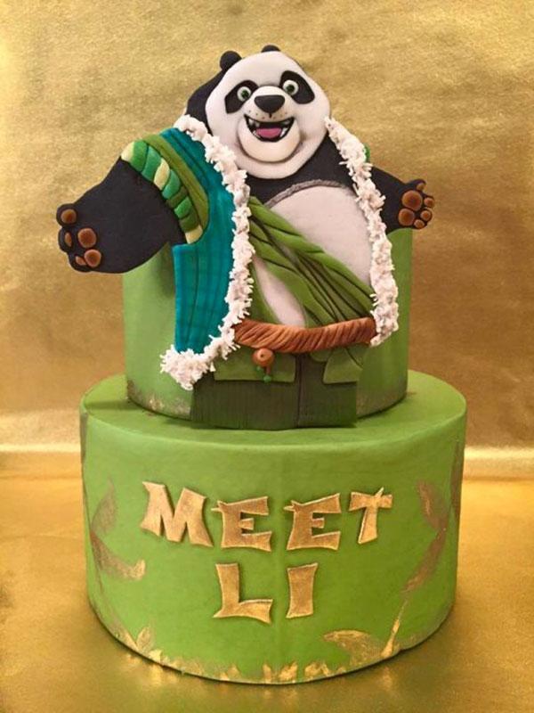 Torta di Kung Fu Panda con decorazioni in pasta di zucchero n.43