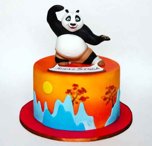 Torta di Kung Fu Panda con decorazioni in pasta di zucchero n.44