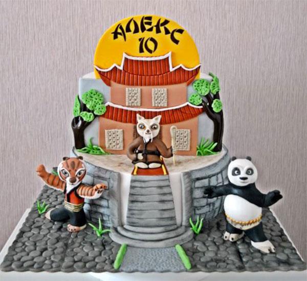 Torta di Kung Fu Panda con decorazioni in pasta di zucchero n.48