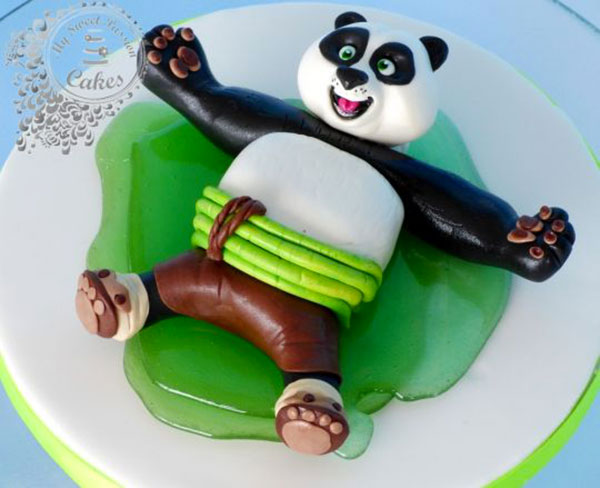 Torta di Kung Fu Panda con decorazioni in pasta di zucchero n.49