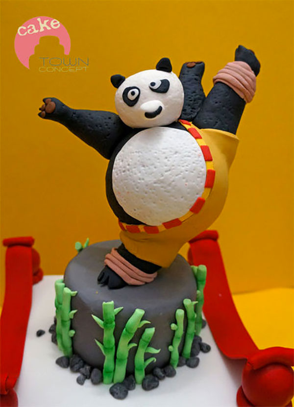 Torta di Kung Fu Panda con decorazioni in pasta di zucchero n.54