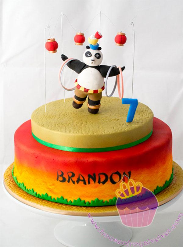 Torta di Kung Fu Panda con decorazioni in pasta di zucchero n.55