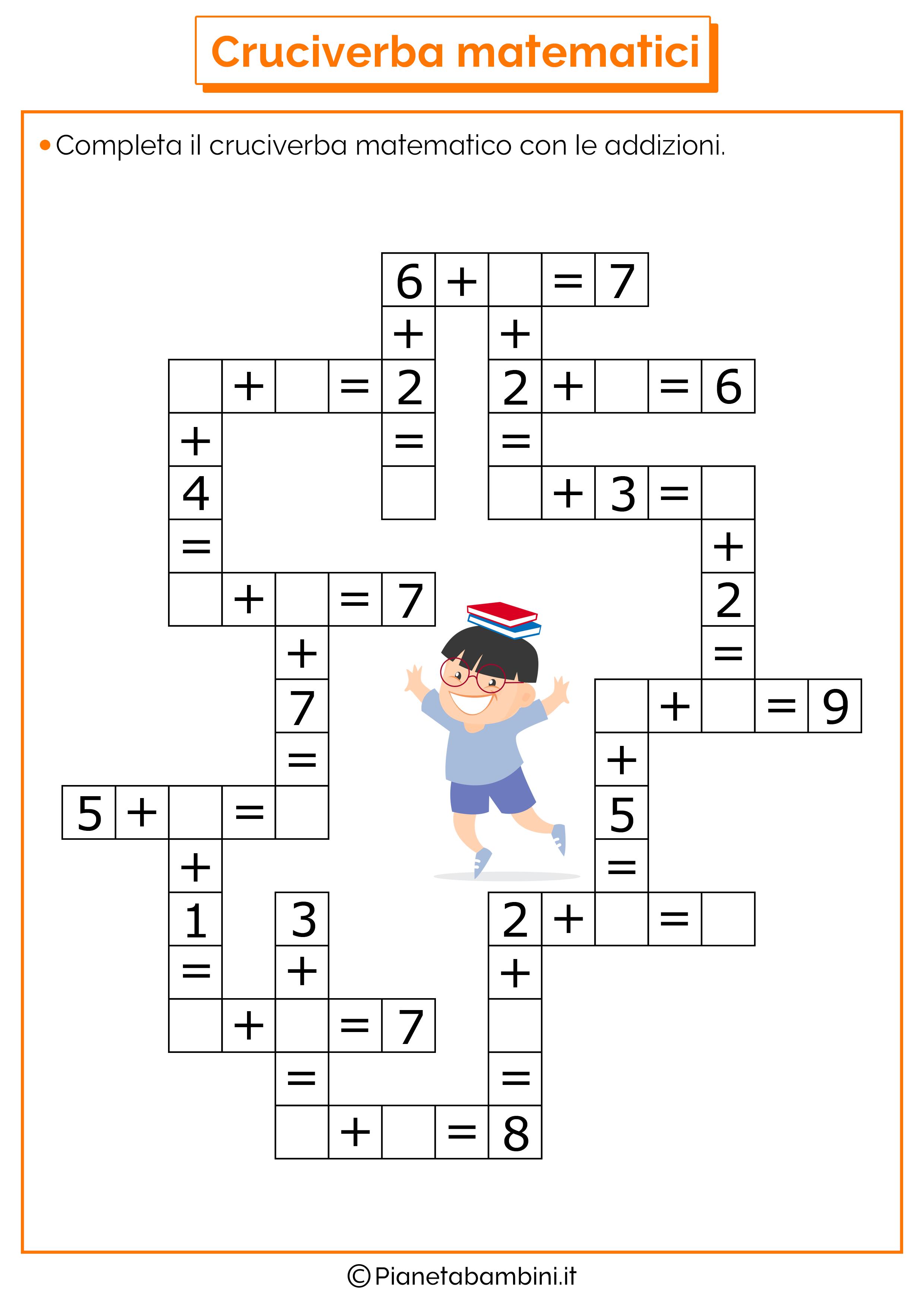 Cruciverba Matematici Con Addizioni E Sottrazioni Pianetabambiniit