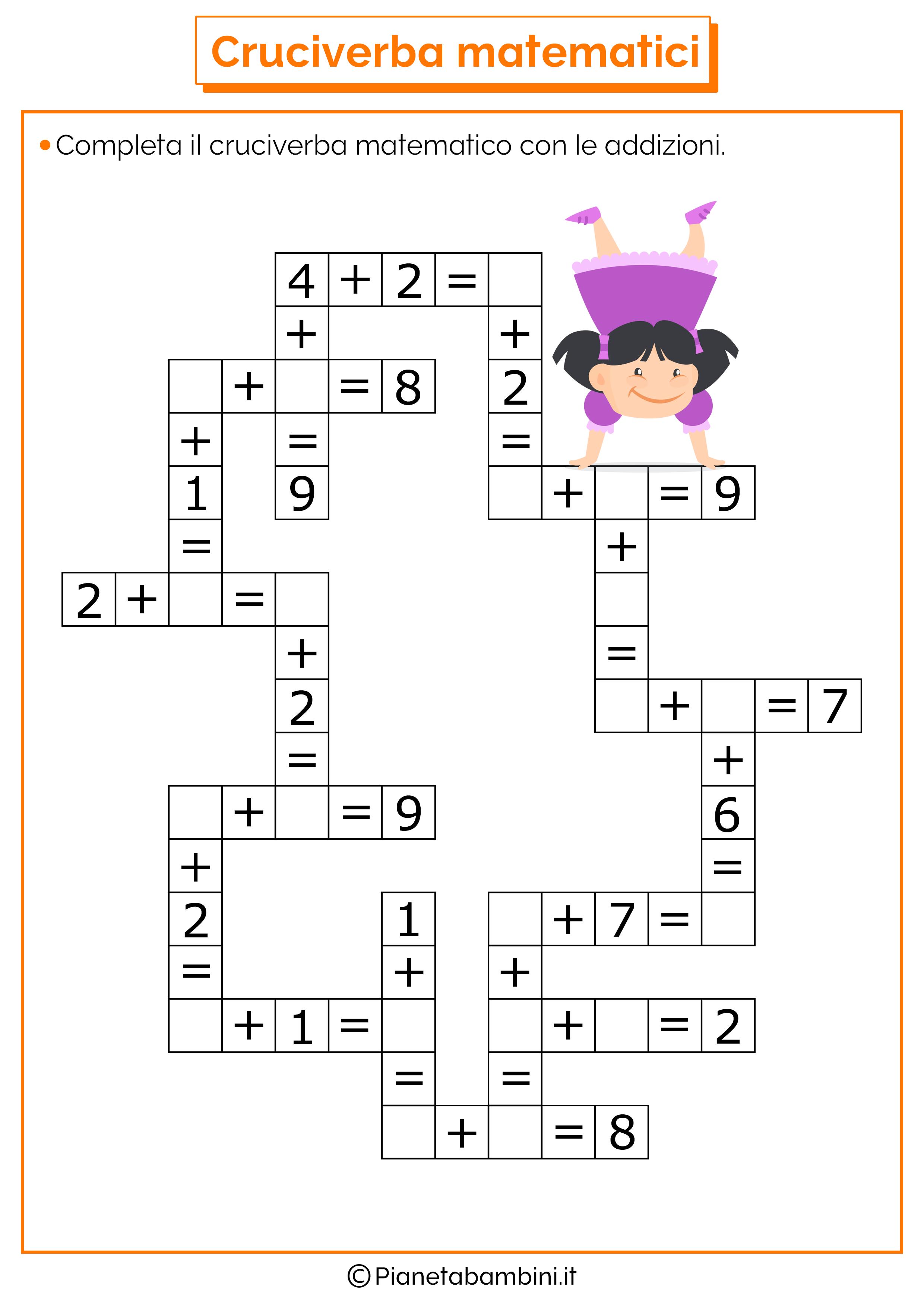 Cruciverba matematici con addizioni e sottrazioni for Cruciverba per anziani da stampare