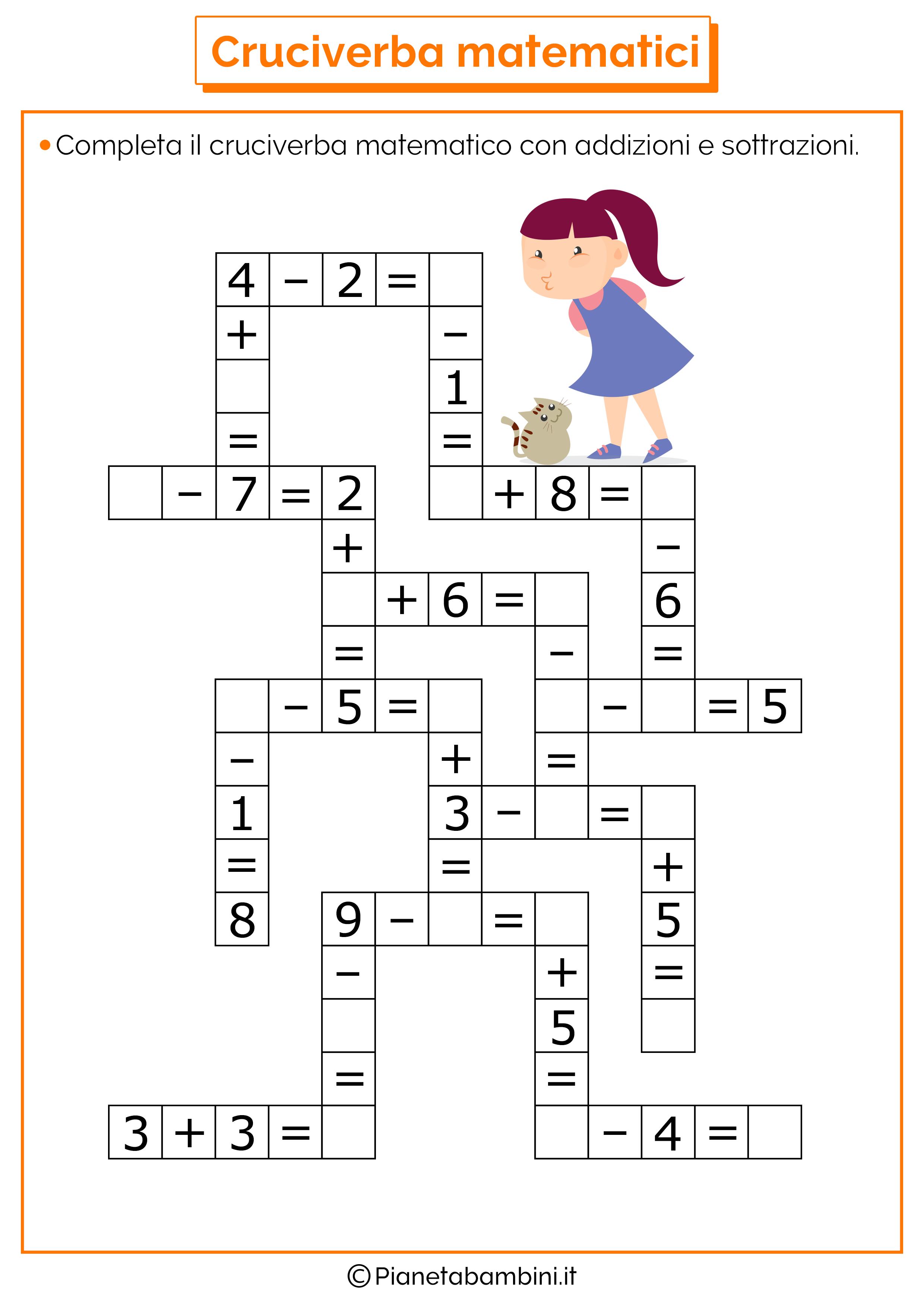 Cruciverba matematici con addizioni e sottrazioni for Cruciverba facile da stampare