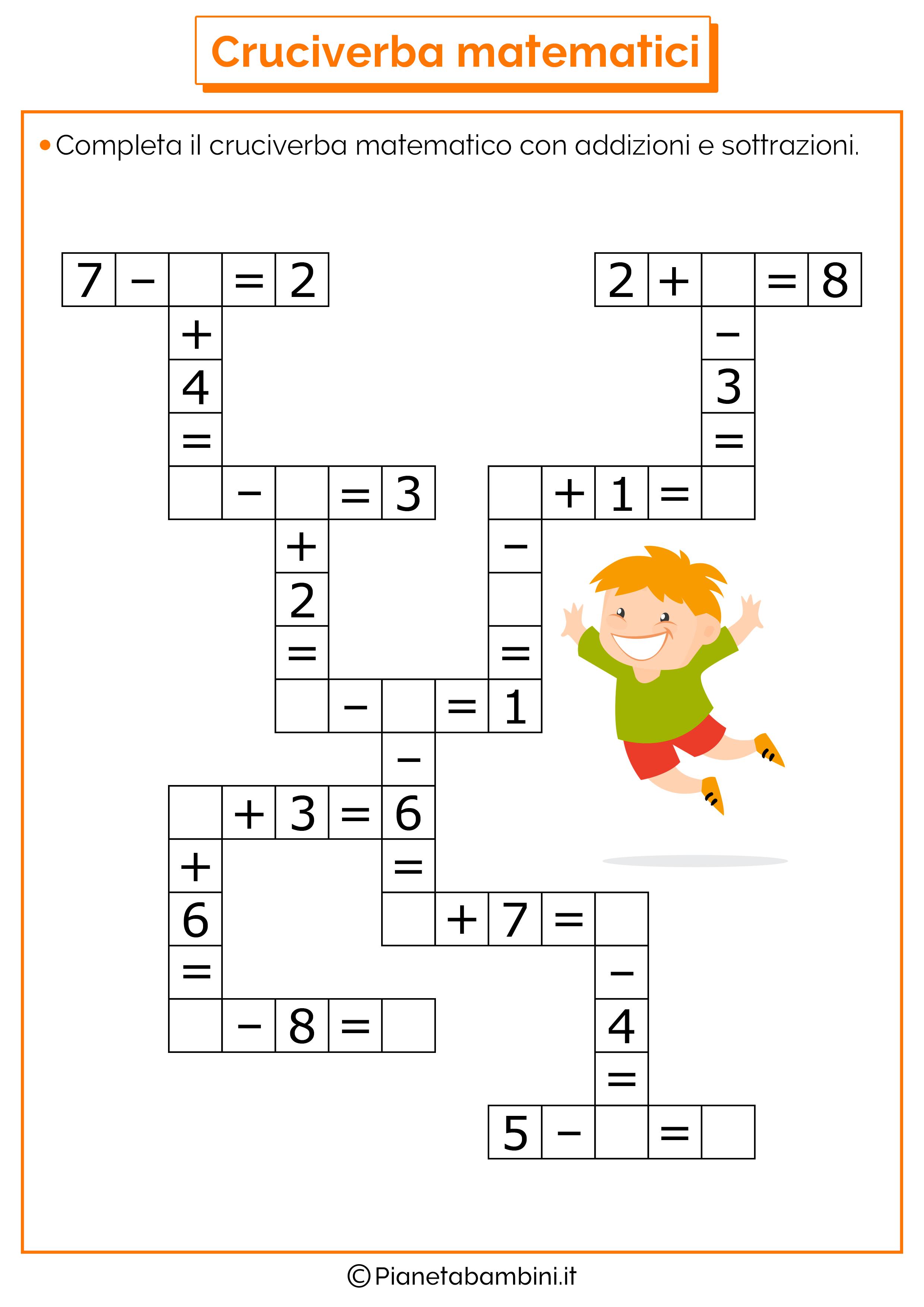 Cruciverba matematici con addizioni e sottrazioni