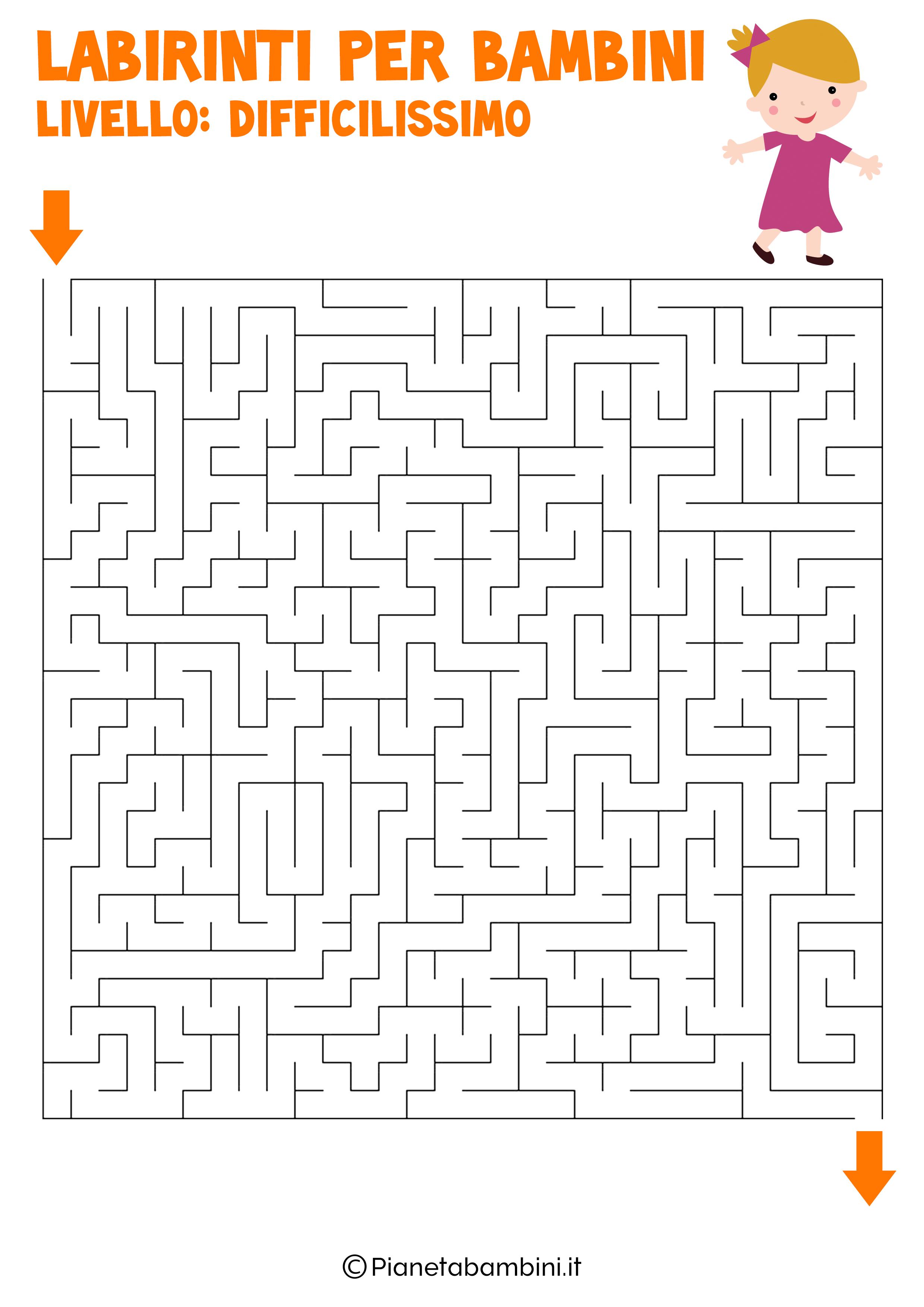 Labirinto difficilissimo per bambini numero 12