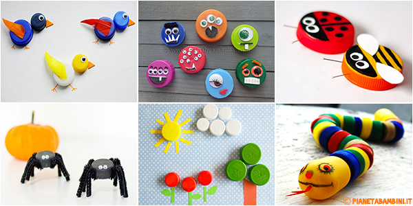 Idee per creare lavoretti con tappi di plastica con i bambini