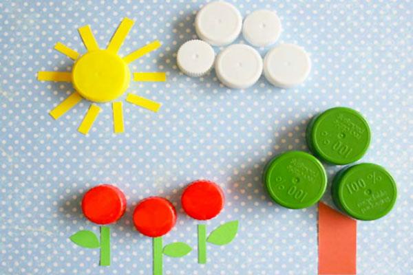 Come creare un paesaggio con tappi di plastica
