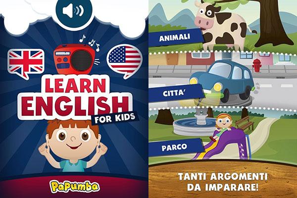 App per imparare l'inglese per bambini Papumba