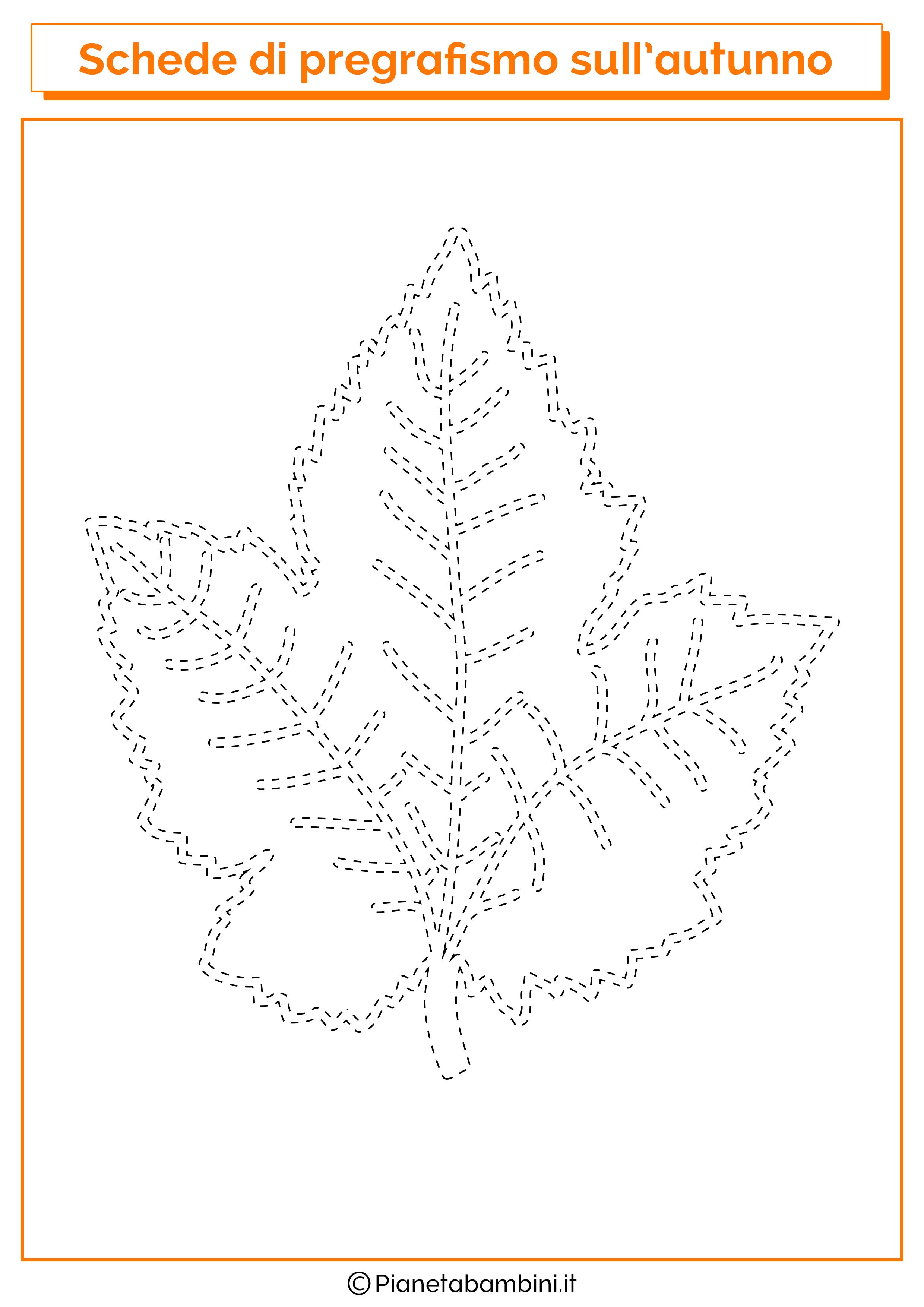 Scheda pregrafismo autunno foglia 3