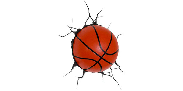 Applique a forma di pallone da basket per la cameretta dei bambini