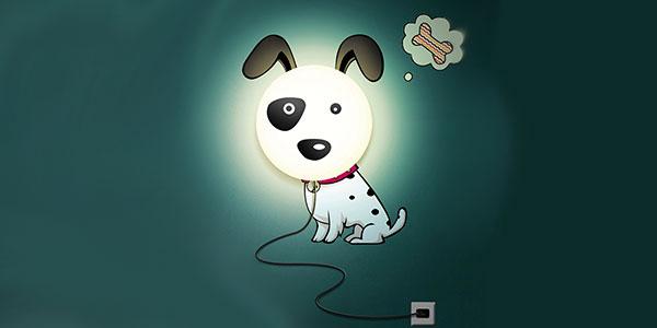 Applique a forma di cane per la cameretta dei bambini