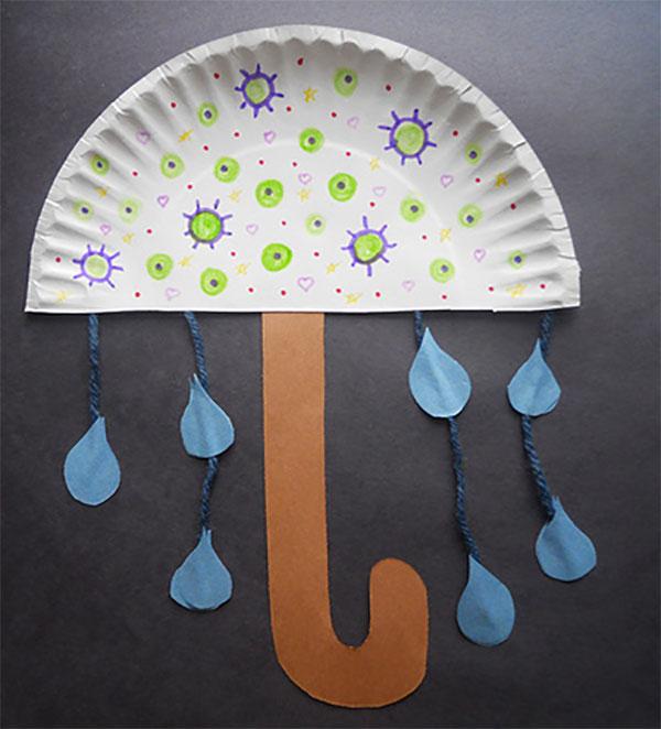 Ombrello creato con piatti di plastica