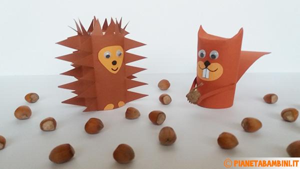 Riccio e scoiattolo creati con rotolo di carta e cartoncino