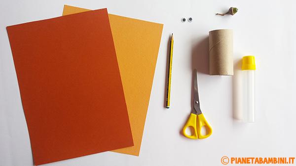 Materiale occorrente per creare lo scoiattolo con rotolo di carta