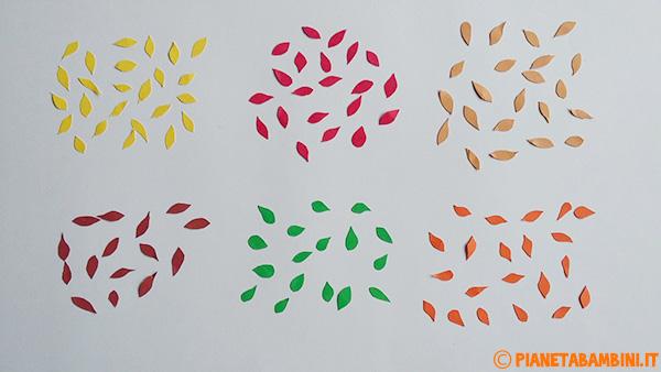 Foglie ritagliate per l'albero autunnale di carta