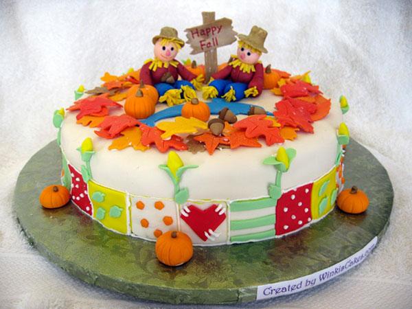 Torta autunnale in pasta di zucchero n.07