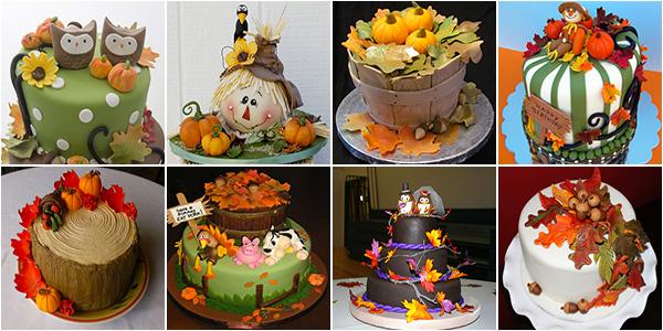 Torte autunnali con decorazioni in pasta di zucchero