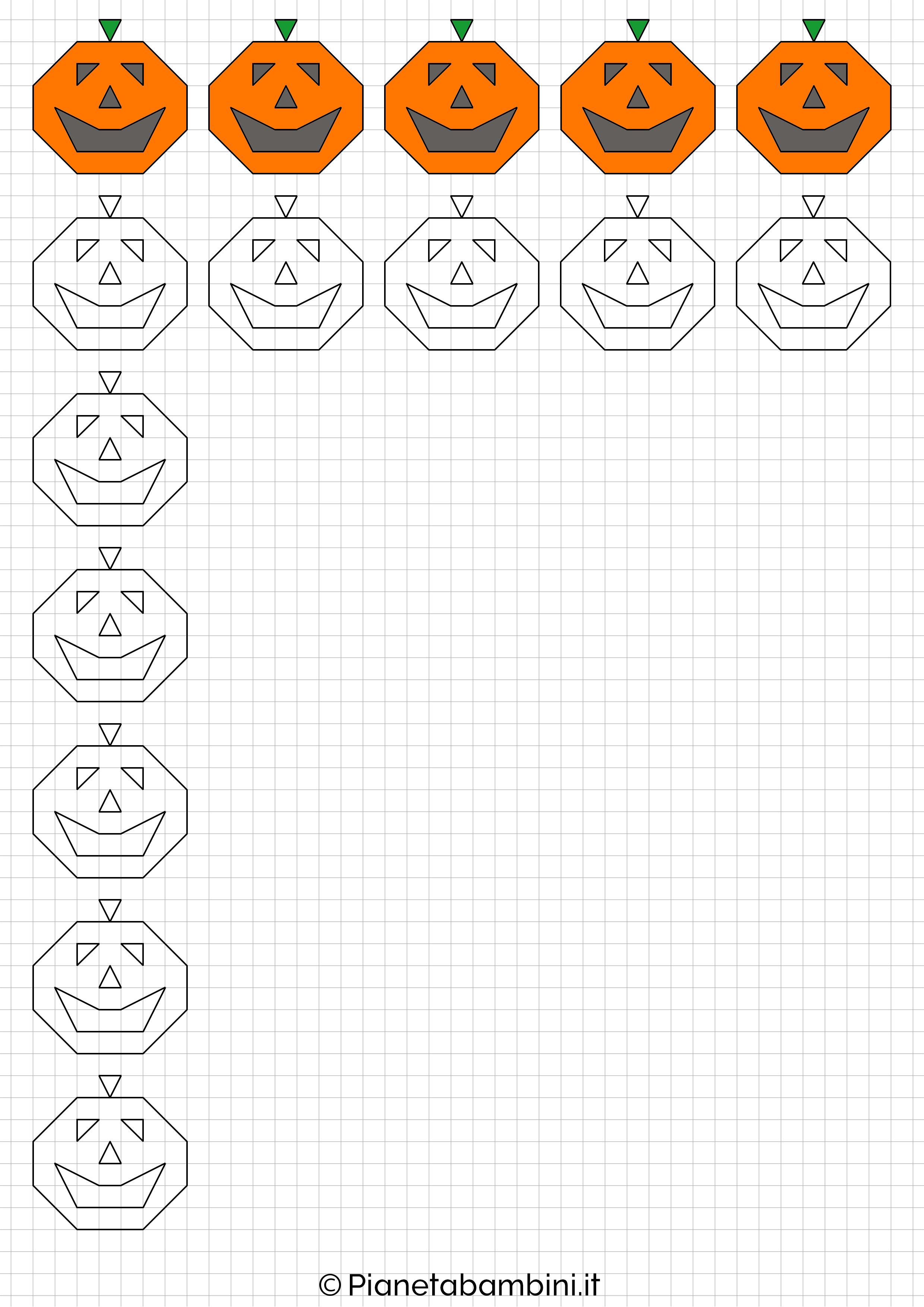 Cornicette di halloween a quadretti da disegnare e - Pagina da colorare per halloween ...