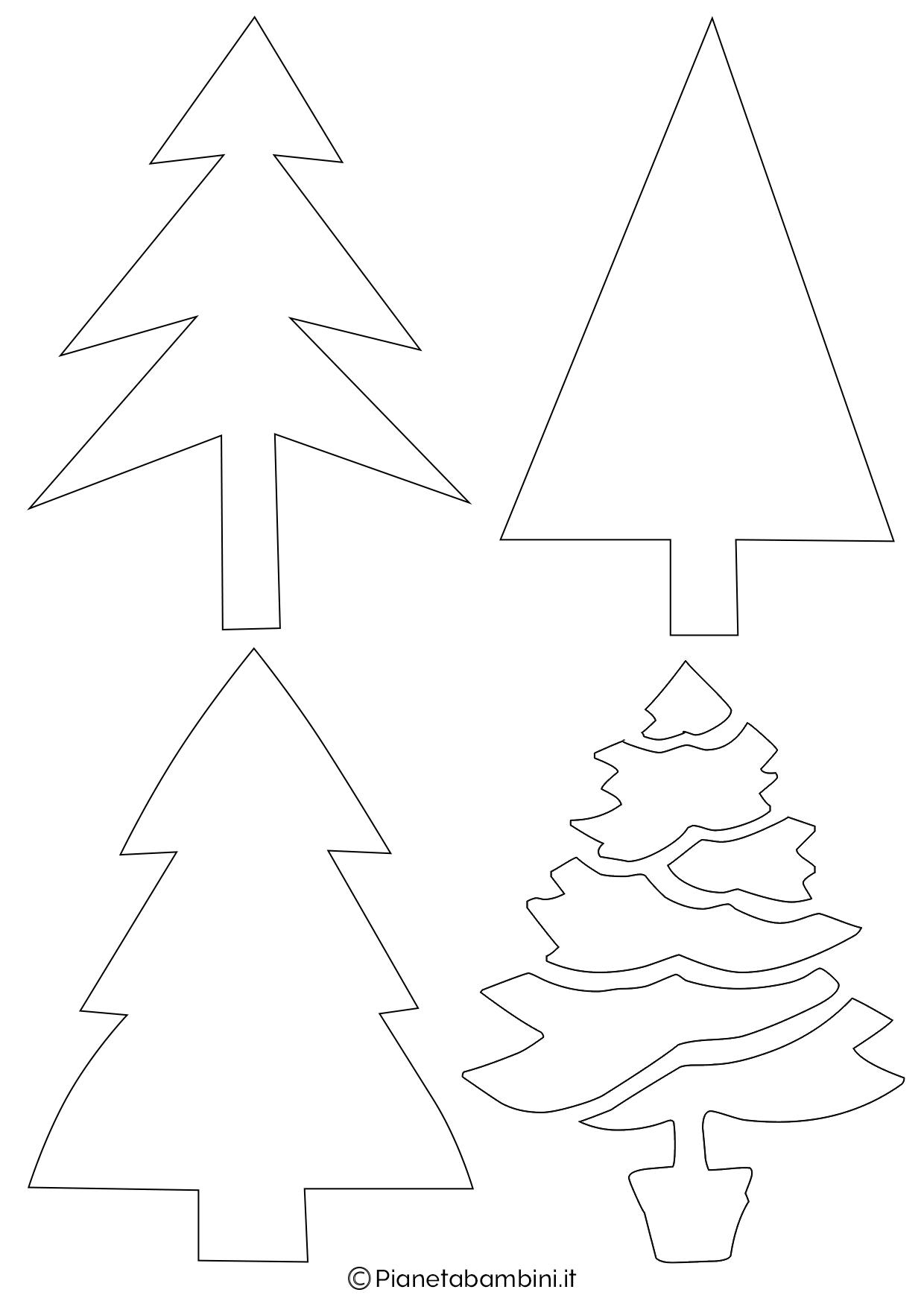 Immagini Di Alberi Di Natale Da Colorare E Stampare.24 Sagome Di Alberi Di Natale Da Stampare E Ritagliare