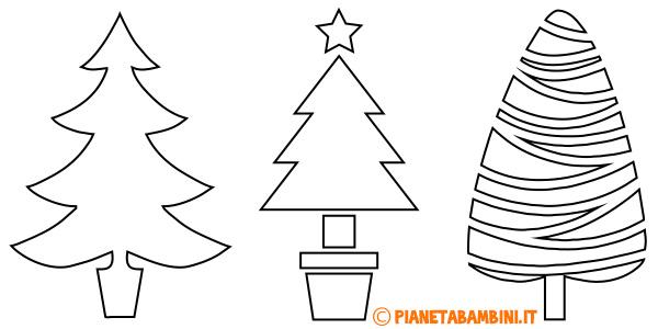 Sagome di alberi di Natale per bambini da stampare gratis