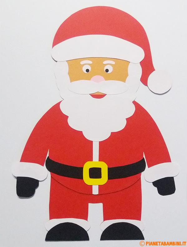 Babbo Natale creato con sagome di cartoncino