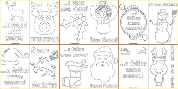 Biglietti di Natale da stampare gratis e colorare per bambini