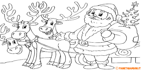 Disegni di renne di Babbo Natale da stampare gratis