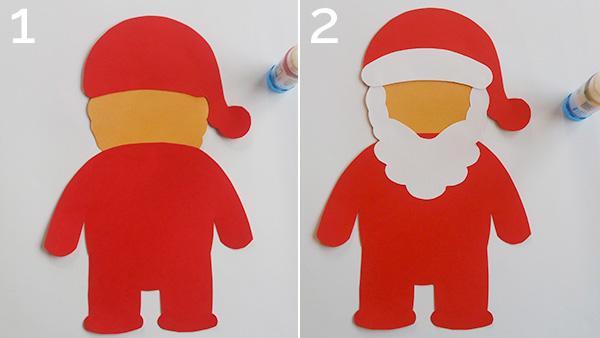 Passaggio 1 e 2 per la creazione del Babbo Natale di cartoncino