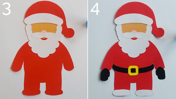Passaggio 3 e 4 per la creazione del Babbo Natale di cartoncino