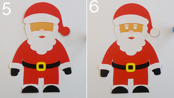 Passaggio 5 e 6 per la creazione del Babbo Natale di cartoncino