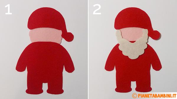 Passaggio 1 e 2 per creare Babbo Natale in feltro