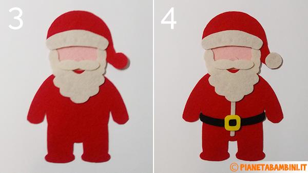 Passaggio 3 e 4 per creare Babbo Natale in feltro