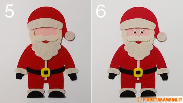 Passaggio 5 e 6 per creare Babbo Natale in feltro