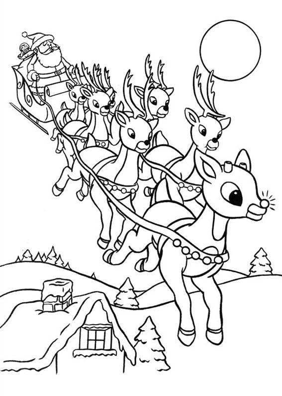 Babbo natale con renne da colorare