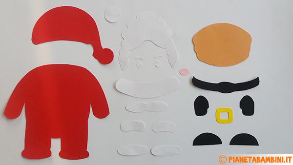 Parti del Babbo Natale di cartoncino da ritagliare ed assemblare