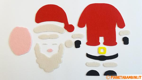 Sagome per la creazione del Babbo Natale in feltro