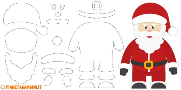 Sagome di Babbo Natale da stampare, ritagliare e costruire