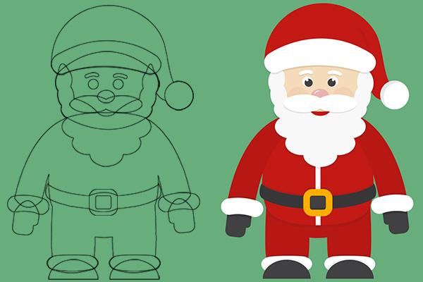 Schema guidato alla creazione del Babbo Natale di cartoncino