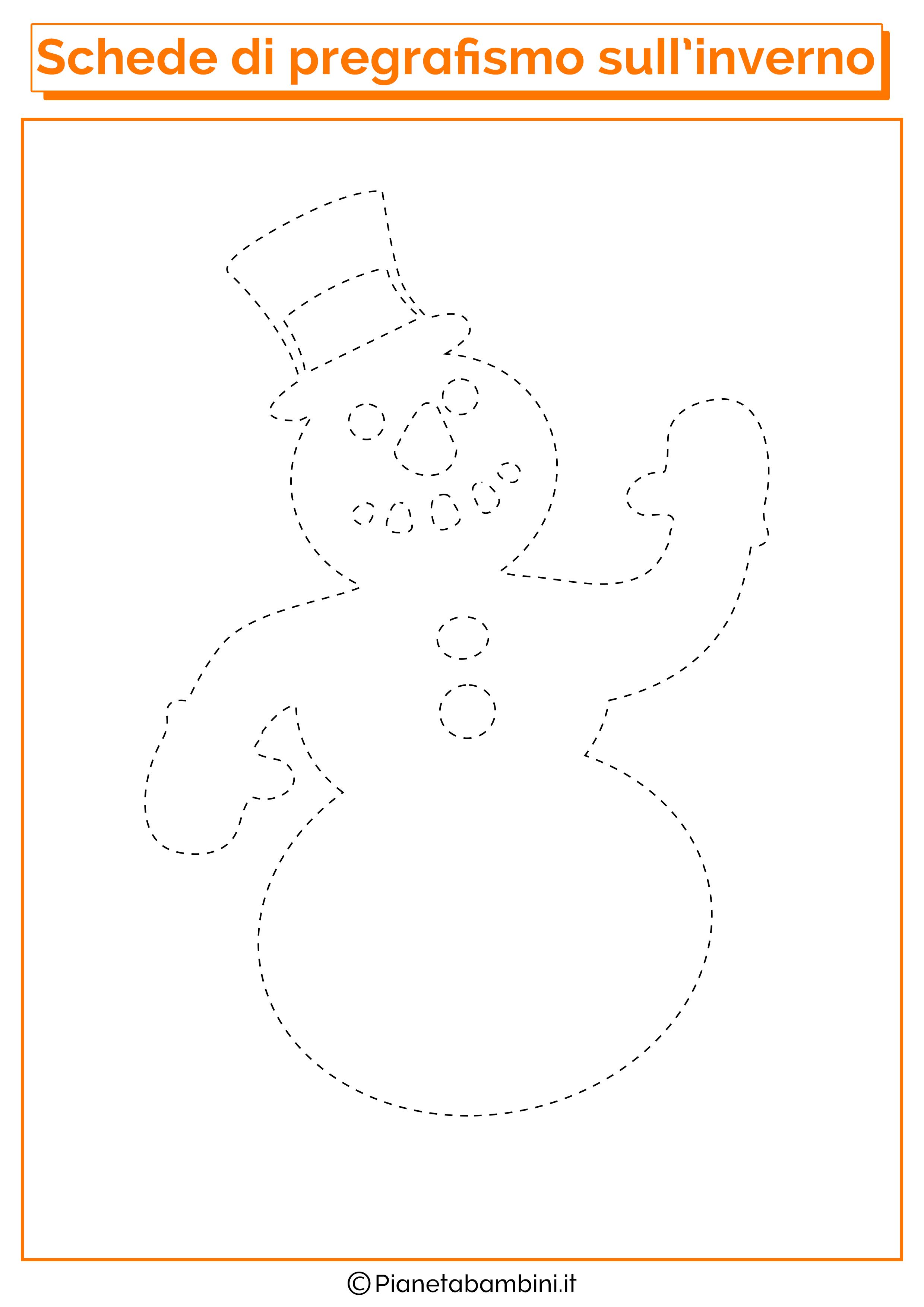 Pupazzo Di Neve >> Schede di Pregrafismo sull'Inverno per la Scuola dell'Infanzia | PianetaBambini.it