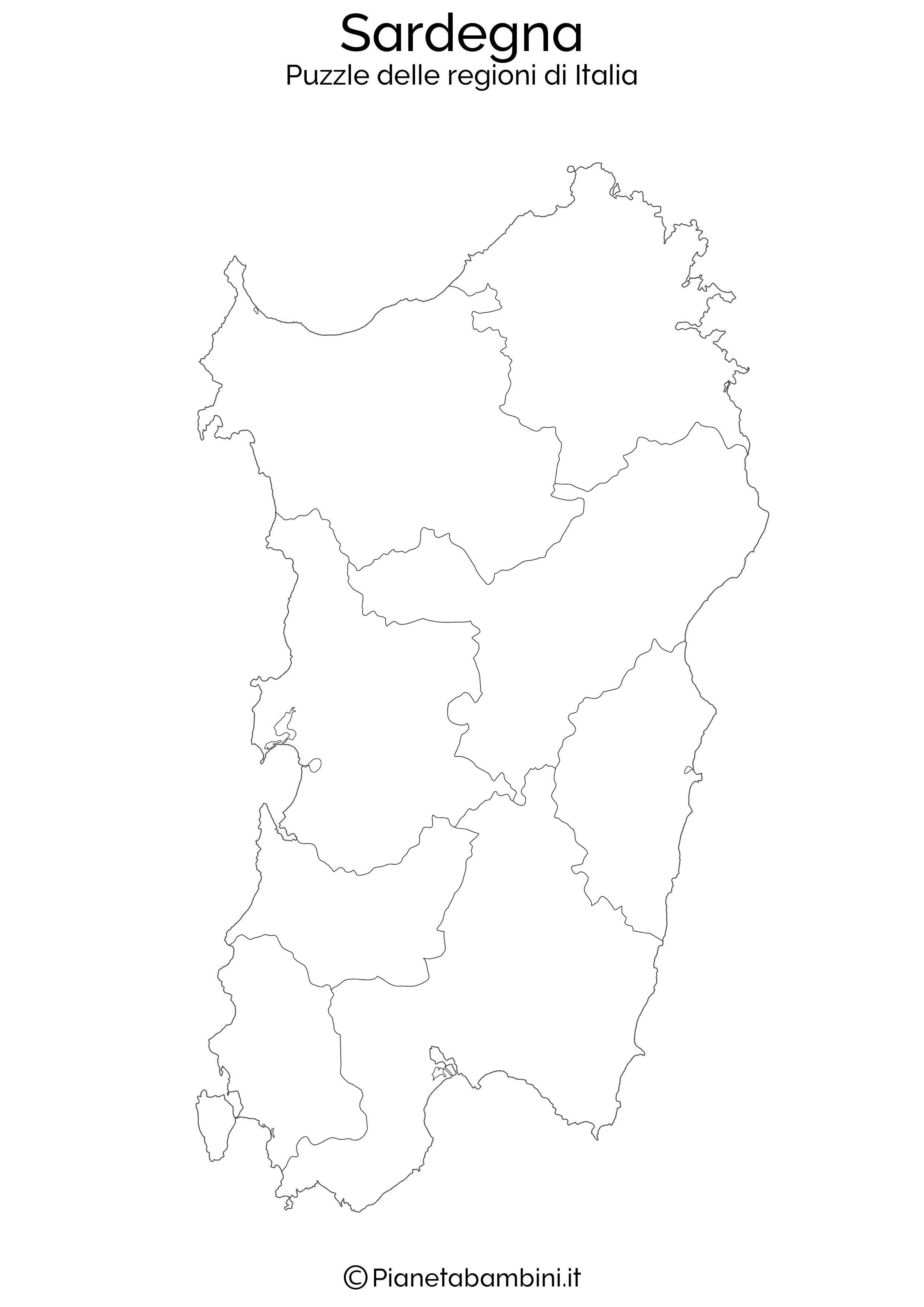 Cartina Sardegna Formato A4.Puzzle Delle Regioni D Italia Da Stampare Pianetabambini It