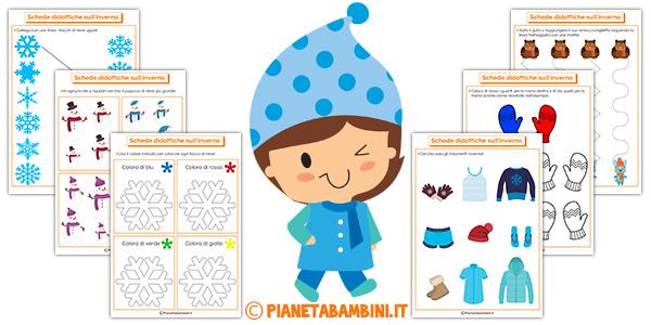 Schede didattiche sull'inverno da stampare gratis per bambini della scuola dell'infanzia