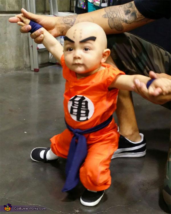 Costume per neonato fai da te da Crilin di Dragon Ball